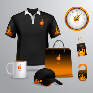 Corporate identity black and fire template decorative set with paper bag tag mug vector illustration